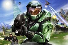 "Halo 1 2 3 4 Game Fabric poster 36"" x 24"" Decor 4-11"