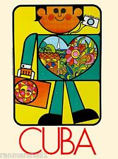 Cuba Caribbean Island Cuban Colorful Man Vintage Travel Advertisement Poster