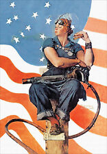 "Rosie the Riveter, 1943, Norman  Rockwell - Poster Vintage Recreation 24""x16"""