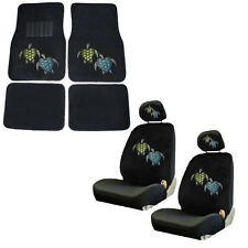 Blue & Green Turtles Crystal Rhinestone Floor Mats Low Back Seat Covers Combo