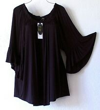 NEW~CUPIO~Solid Black Victorian Peasant Blouse Ruffle Shirt Plus Top~22/24/2X