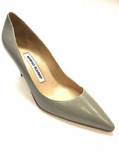 MANOLO BLAHNIK Pearl-Gray Leather Pointed-Toe Heel Pumps Shoes Sz37