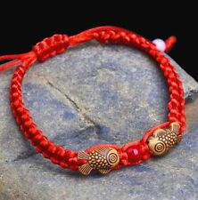 Feng Shui Red String Lucky Wooden Twin Fish Charm Bracelet for Good Luck Wealth☆