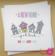 Personalised Card For New Home/good Luck, 'Row of houses' Add Family Names