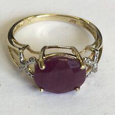 Vintage sólido 9ct oro grande Rubí Diamante Set Hombros Vestido Anillo Tamaño N1/2