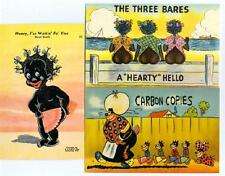 3 different 1940's BLACK COMIC Linen Postcards RACIST HUMOR