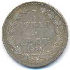 Poland under Russia Silver 5 Zlotych 3/4 Ruble 1840 MW F/VF