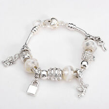 XMAS European Murano Glass Beads solid Silver Charms Bracelet SXB094 +box