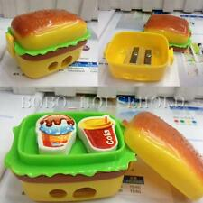 Children Cute 2 Hole Hamburger Pencil Sharpener 2 Erasers Student School Gift