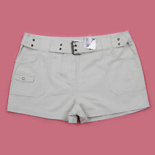 BNWT BEIGE SHORT LENGTH CASUAL COTTON BELTED DETAIL CARGO STYLE SHORTS SIZE 18