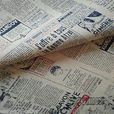 50x150cm Cotton Linen Fabric Newspaper DIY Home Deco Table Cover Bag 8253 E#