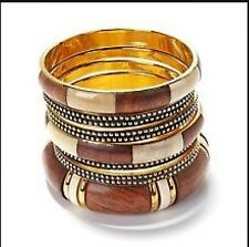 "Wood & Brass Bangle Set-Large Bracelets By Bajalia ""Subha"""
