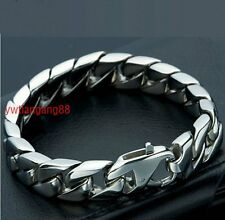 Christmas Gift Cool Mens Stainless Steel Chain Bracelet New Silver Jewelry 8.66""