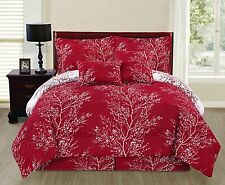 Comforter Set Bedding Cover Beautiful Modern Chic Sheet Pillow Full Size Red