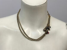 VINTAGE STERLING ENAMEL NECKLACE 2 ROWS OF CHAIN STAR NAVY AND RED ENAMEL