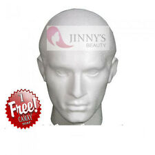 POLYSTYRENE WHITE MALE DISPLAY HEAD MANNEQUIN FOR WIG + FREE CAMAY SOAP