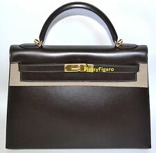 AUTHENTIC HERMES MARRON FONCÈ BOXCALF KELLY 32CM RIGID GOLD H/W - NEVER USED