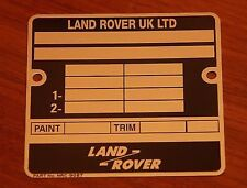 Range Rover BA Chassis VIN Plate repro! Superb quality