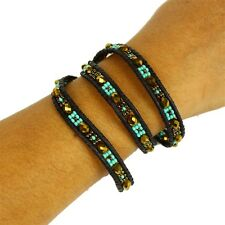 3 Wrap Turquoise Amber Leather Crystal Bracelet Artisan Beaded Crystal Glass