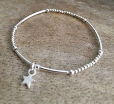 Simple Silver Ball Noodle Beaded Lucky Star Wish Stacker Bracelet Bangle