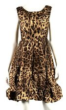 DOLCE & GABBANA Brown Leopard Print Ruffle Hem Sleeveless Cocktail Dress 40