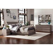 4 Piece Queen Bedroom Furniture Set Headboard Bed Chest Nightstand Brown New