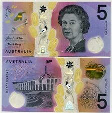 AUSTRALIA 5 DOLLARS 2016 P NEW DESIGN BLIND FEATURE CLEAR POLYMER UNC