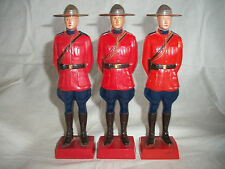 LOT OF 3 VINTAGE 1950'S RELIABLE CANADA MOUNTED POLICE/MOUNTIE CELLULOID FIGURES