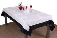 Ferre Tischtuchset Tischdecke + 8 Servietten 180 x 180 Weiß / Schwarz