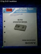Sony Operation Manual MZ R30 Portable Mini Disc Recorder (#1436)