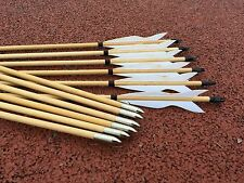 12PK white Elven wood arrows traditional bow archery outdoor hunting