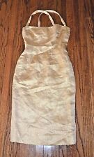 VINTAGE OSCAR DE LA RENTA 80'S GOLD BELOW KNEE STRAPPY DRESS LINED 38 OR 2 EUC