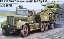 MERIT 63502 US M19 Tank Transporter With Soft Top Cab w/Trailer in 1:35
