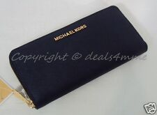 NWT Michael Kors  Jet Set Travel Saffiano Leather Zip Around Wallet. Navy Blue