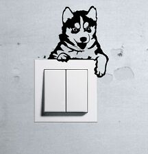 Cute Dog Husky Baby Pet light switch funny wall decal vinyl stickers 1
