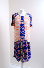 Marks & Spencer DRESS size 12 Floral Blue & Pink Floaty Casual Tunic 1603