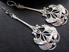"""vintage BIG 3.5"""" STERLING SILVER art nouveau flower pierced earrings -C436"""
