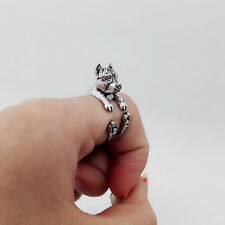Pit Bull Terrier Ring Pet Antique Silver Animal Gift Wrap Adjustable Ring