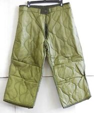 UNISSUED US MILITARY M-65 COLD WEATHER QUILTED FIELD PANTS LINER (LARGE REG/SHT)
