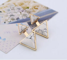 Retro Women Jewelry Gold Plated Earrings Turquoise Double Triangle Earring Stud
