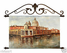 "Oil Painting On Canvas Tapestry W/Metal Rods 24""x36""- Santa Maria Della Salute"