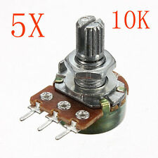 5Pcs 200V 0.2W 10K Ohm Potentiometers Single Linear