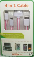 1 Meter 4 in 1 USB Flat Charge Cable Apple 8 Pin/30-Pin/Micro USB/Note 3(Pink)