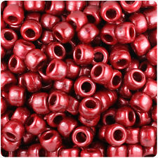 500 Dark Cranberry Pearl 9x6mm Barrel Pony Beads Made in the USA by The Beadery