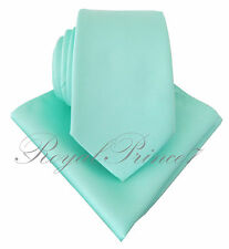 Aqua Mint Blue Green Neck tie and Pocket Square Hankie Set Formal Wedding 100QQ