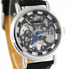 Mechanical Automatic Skeleton Steampunk Silver Black Leather Mens Unisex Watch