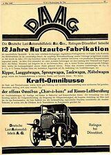 DAAG Ratingen 12 JAHRE NUTZAUTO-FABRIKATION XXL-Historische Reklame von 1922