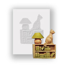 Silicone Mould - Cat On Bookcase - Flat Backed Mini Sculpture - Food Safe
