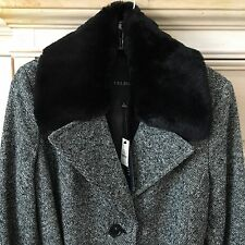 NEW TALBOTS Single Breast Wool Black White Tweed Coat Faux Fur Collar NWT Size 8
