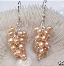 Pink Akoya Cultured Pearl Grape Dangle Earring Silver Hook AAA+